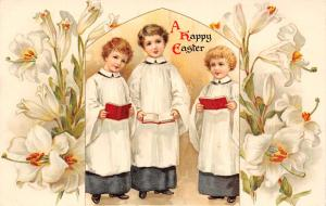 Easter~Boys in Choir Robes Sing~Hymnbook~Lilies Surround Arch~1908 Ernest Nister