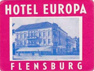 GERMANY FLENSBURG HOTEL EUROPA VINTAGE LUGGAGE LABEL