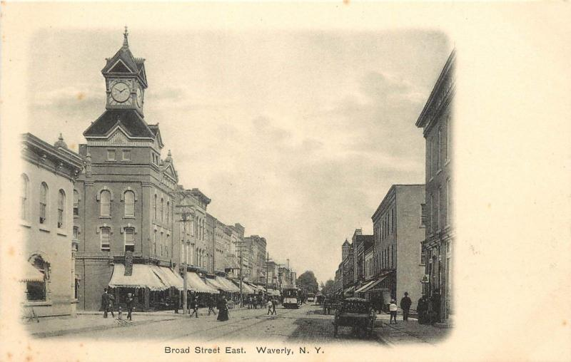 c1905 Lithograph Postcard; Broad Street East, Waverly NY Clock Tower & Trolley