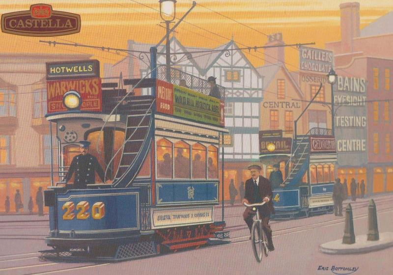 Bristol Tram Castella Cigars Limited Edition Artist Drawn Transport Postcard