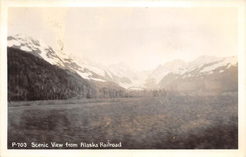Scenic View from Alaska Railroad~Forest & Snow Capped Mountains~1940s RPPC