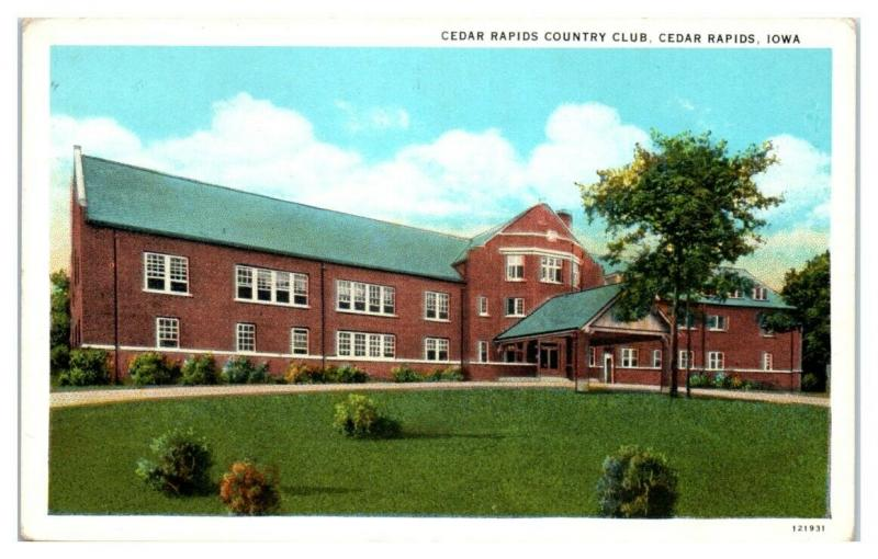1937 Cedar Rapids Country Club, Cedar Rapids, IA Postcard
