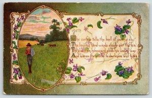 C Ryan~Farm Vignette~Plowman Plods Homeward~Lowing Herd~Art Nouveau Emboss~Poem