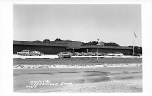 Dyersville Iowa~Hospital~Parking Lot~Nice 1960s Cars~Real Photo Postcard~RPPC