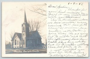 Princeton IL~Swedish Lutheran Church~Services Each Nite~Emil Sick Call~1907 RPPC