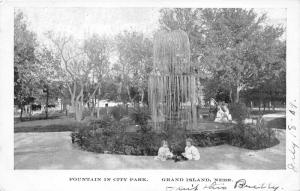 Grand Island Nebraska~Little Girls by Fountain @ Pioneer Park~1909 Postcard