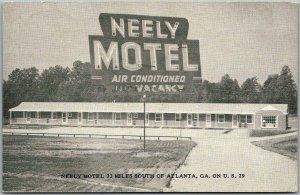 Fairburn, Georgia Postcard NEELY MOTEL Route 29 Roadside c1950s Unused