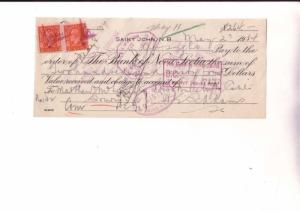 Cheque, Bank Of Nova Scotia, Saint John, NB, 1934, Canadain Stamp