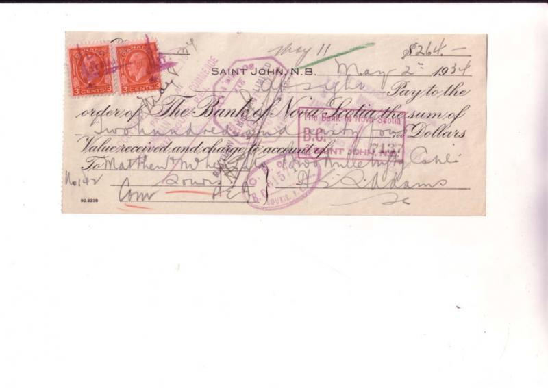 Cheque, Bank Of Nova Scotia, Saint John, NB, 1934, Canadain Stamp