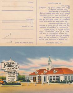 Howard Johnson Restaurant 28 Flavors of Ice Cream Suggestion Card Roadside Linen
