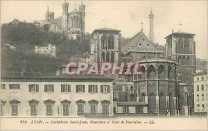 Old Postcard Lyon Saint-Jean Cathedral and Tower of Fourviere Fourviere