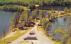 Orient Bay Ont~McCollum's Reflection Lake Cabins~Semi Truck at Check Point~1950s