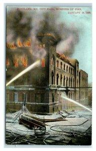 Postcard Portland, Maine City Hall morning of Fire Jan 24, 1908 Y65