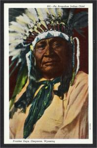 Cheyenne WY Arapahoe Indian Chief at Frontier Days Linen Postcard 1940s