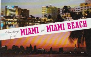 Florida Greetings From Miami Beach Showing Skyline and Beachfront Hotels At N...