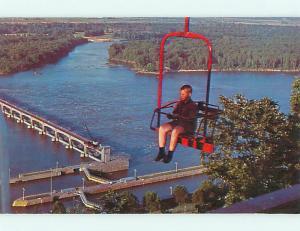 Unused Pre-1980 SKYLIFT CHAIR OVER DAM & LOCK Clarksville Missouri MO v5292