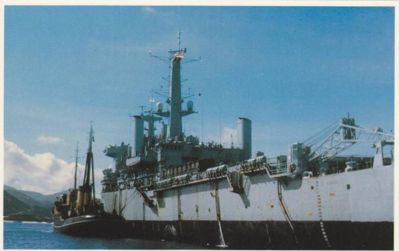 Falkland Islands war ; 1982 ;  H.M.S. Fearless takes supplies at ASCENSION IS...