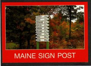 ME View of Sign Post LYNCHVILLE MAINE PC Postcard