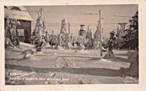 KRKONOSE CZECHOSLOVAKIA~LANOVKA z JANSKYCH LAZNI na CERNOU~PHOTO POSTCARD 1947
