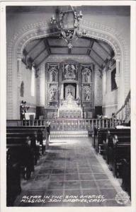 California San Gabriel Altar In The San Gabriel Mission Real Photo