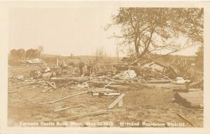 F36/ Castle Rock Minnesota RPPC Postcard? Tornado Disaster Homes