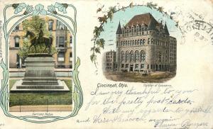 Cincinnati OH~Art Nouveau Equestrian Harrison Statue~Chamber of Commerce~1906