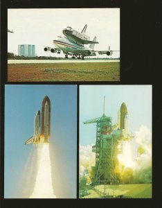 Lot of 3 1980's NASA Space Shuttle Postcards Unposted