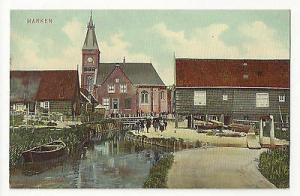 Netherlands Holland Marken Village Scene Church Vtg c 1910 Trenkler Postcard