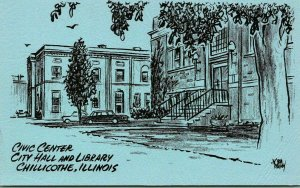 Chillicothe, Illinois Postcard City Hall & Library Artist-Signed NORM RAMSEY