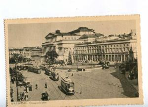 192601 POLAND Warszawa theatre TRAMS Vintage postcard