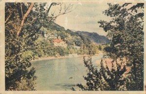 Romania Valea oltului vedere spre calimanesti rau padure Postcard
