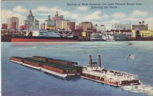 Louisiana New Orleans Skyline With Federal Barge Line Entering Her Berth 1947...