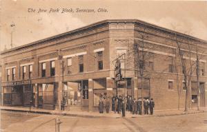 E79/ Dennison Ohio Postcard Tuscarawas County 1908 New park Block Stores