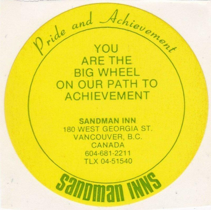 Canada Vancouver Sandman Inn Yellow Vintage Luggage Label sk3593