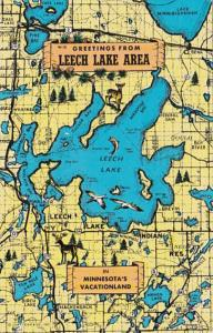 Greetings From Leech Lake Minnesota With Map 1960