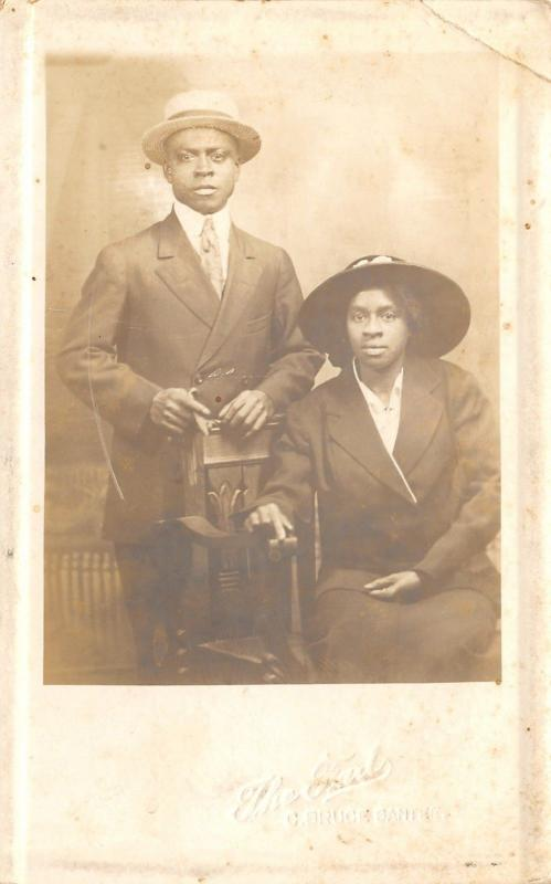 Black Americana~C Bruce Santee~The Fad~Kansas City Photographer~Couple~1914 RPPC