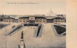 RHODE ISLAND RI Postcard c1910 PROVIDENCE The New Railroad Station Depot