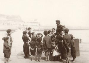 Fishermen Teacher Children at Fish Pier Whitby Lecture Photo Yorkshire Postcard