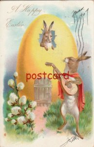 1907 A HAPPY EASTER rabbit with cape serenading with a lute, TUCK, embossed