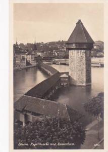 Schweiz Luzern Kapellbruecke und Wasserturm Real Photo