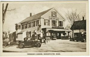 Bridgewater MA Tinkham's Corner Gas Pumps Store Great Signage Old Cars Postcard