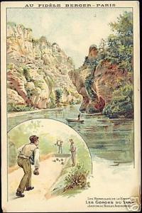 france Gorges Tarn, Boules 1908 Lombart Chocolate Litho