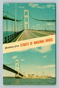 Mackinac MI- Michigan, Straits of Mackinac Bridge, Lake Michigan,Chrome Postcard