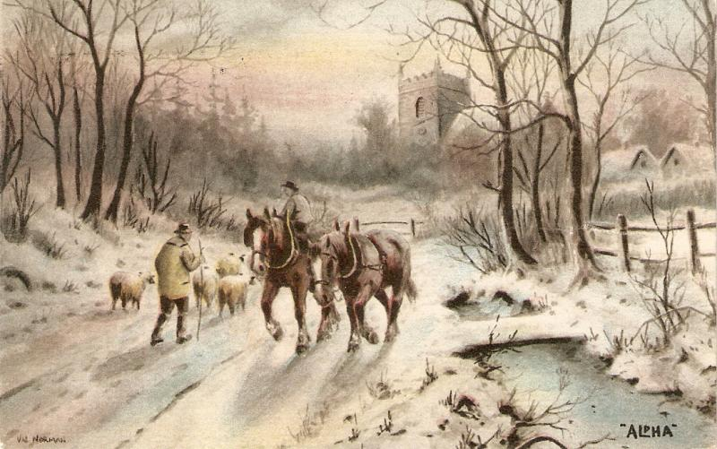 Val Norman. Horses. Sheeps. Winter scene Antique English PC