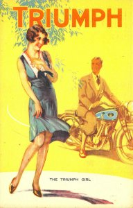 The Triumph Girl Motorcycle Poster Type Advertising Postcard