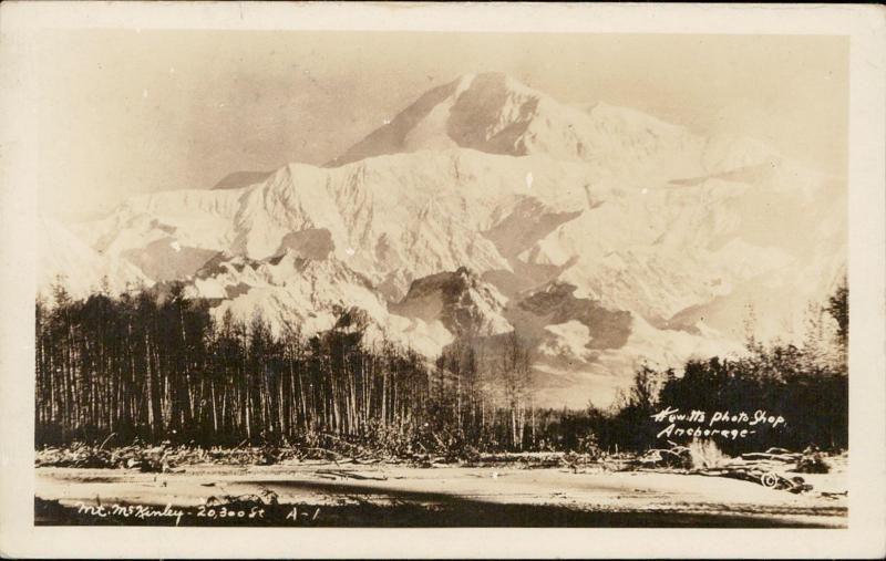Mt. Kinley Alaska real photo Hewitts shop Anchorage