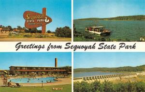 OK, Oklahoma  SEQUOYAH STATE PARK Multi View MOTEL~PARTY BOAT+  Chrome Postcard