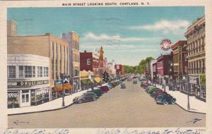 New York Cortland Main Street Looking South Artvue 1943