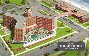 Asbury Park New Jersey~Hotel Berkeley Carteret~Birdseye~Artist Conception 1960s