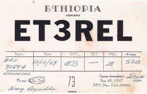 Asmara Ethiopia Amateur Radio Vintage QSL 1960s Card